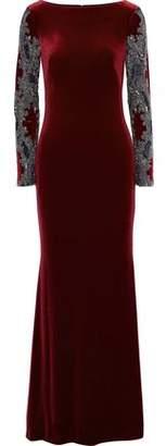 Badgley Mischka Embellished Tulle-Paneled Velvet Gown
