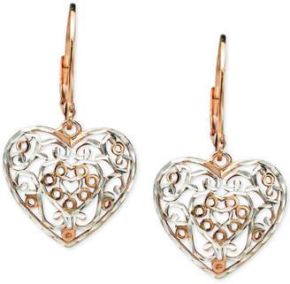 Giani Bernini Two-Tone Filigree Heart Drop Earrings in Sterling Silver & 18k Rose Gold-Plate, Created for Macy's