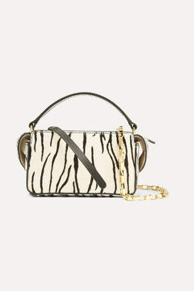 Wandler Yara Box Leather-trimmed Zebra-print Calf Hair Shoulder Bag - White