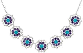 Swarovski Lucia Costin .925 Silver, Violet, Blue Crystal Necklace, Stunning