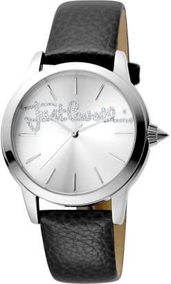 Just Cavalli 36mm Logo Watch w/ Leather Strap, Black