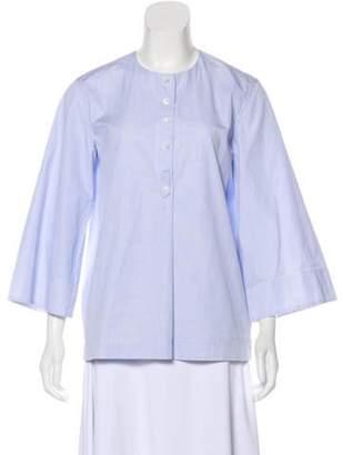 Celine Céline Pin-Striped Long Sleeve Top Blue Céline Pin-Striped Long Sleeve Top