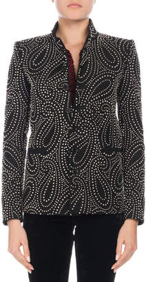 Saint Laurent Button-Front Paisley-Stud Single-Breasted Jacket