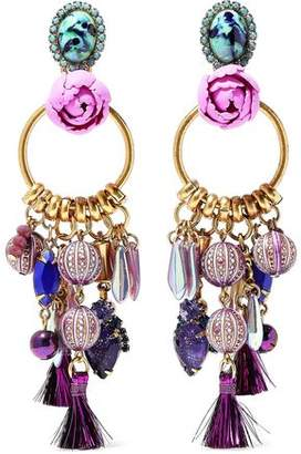 Elizabeth Cole Aussie Burnished 24-karat Gold-plated Embellished Earrings