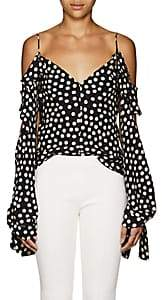 Juan Carlos Obando Women's Polka Dot Silk Off-The-Shoulder Blouse - Black