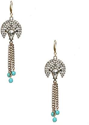 David Aubrey 'Clara' Deco Chain Drop Earrings Turquoise/ Crystal One Size