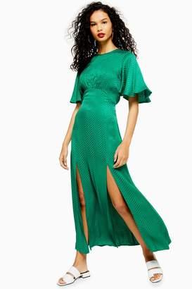 32c9085d9 Topshop Womens Austin Jacquard Angel Sleeve Maxi Dress - Green
