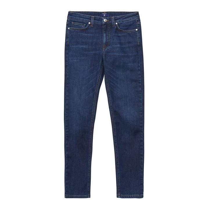 Dark Blue Regular Cropped Denim Stretch Jeans