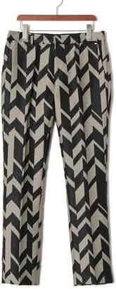 Tom Rebl 総柄 センタープレス パンツ ブラック/ホワイト 46