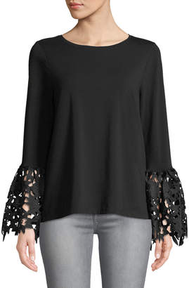 Neiman Marcus Lace Bell-Sleeve Tee