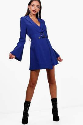 boohoo Boutique Flared Sleeve Belted Blazer Dress