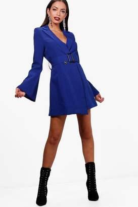 boohoo Boutique Flared Sleeve Belted Blazer Dress