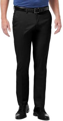 Haggar Mens Premium No-Iron Khaki Flex Waist Slim-Fit Stretch Flat-Front Pants