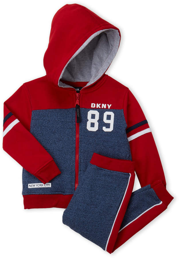 Dkny (Toddler Boys) Two-Piece Color Block Fleece Hoodie & Joggers Set
