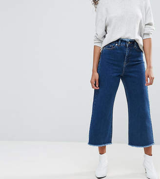 Asos Wide Leg Jeans With Raw Waistband in Blue