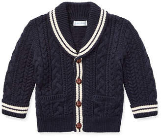 Ralph Lauren Aran Cable-Knit Cardigan Sweater, Size 6-24 Months