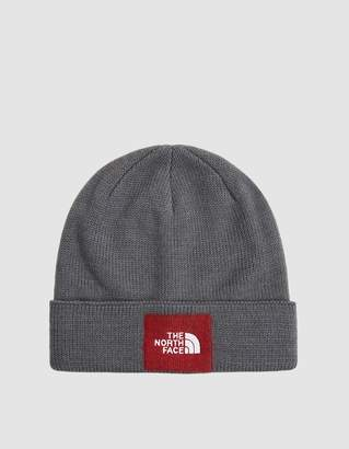 The North Face Black Box Felt Logo Beanie in TNF Medium Grey Heather/TNF Red