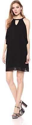 Romantic Dreamers Women's Sleeveless Keyhole Cutout Ruffle-Trim Dress