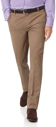 Charles Tyrwhitt Tan Extra Slim Fit Flat Front Non-Iron Cotton Chino Pants Size W30 L32
