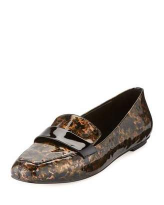 Delman Fab Patent-Strap Printed Loafer, Metallic Gold $248 thestylecure.com