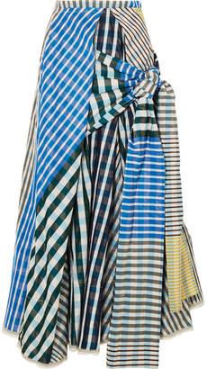 Marni Tie-front Checked Taffeta Midi Skirt - Blue