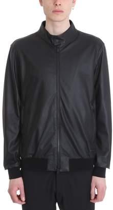 Z Zegna Black Leather Jacket