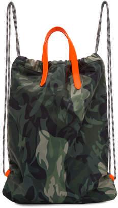Alexander McQueen Green and Orange Camo Drawstring Backpack
