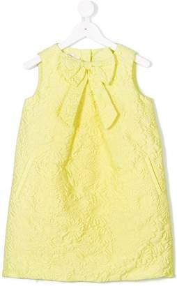 Oscar de la Renta Kids Bubble flower jacquard pleat bow dress