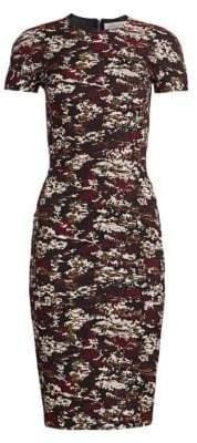 Victoria Beckham Camo Print Cap Sleeve Sheath Dress