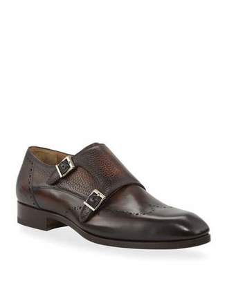 Magnanni Men's Double-Monk Wing-Tip Leather Loafers