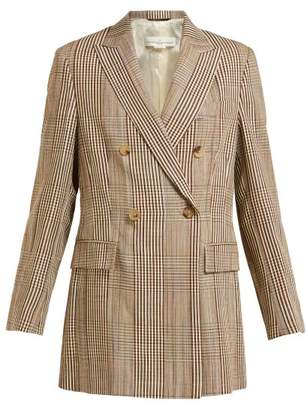 Golden Goose Double Breasted Checked Longline Blazer - Womens - Beige Multi