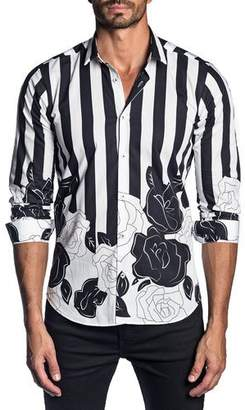 Jared Lang Men's Long-Sleeve Floral and Stripe Print Sport Shirt