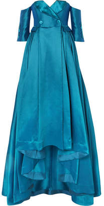 Alexis Mabille Off-the-shoulder Satin-piqué Gown - Petrol