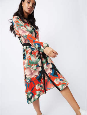 f32ab43e1499 George Orange Floral Print Shirt Dress