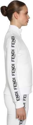 Fendi Logo Bands Zip-Up Jersey Sweatshirt