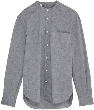 Eidos Mandarin collar slub cotton shirt