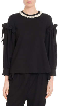 Simone Rocha Pearlescent-Embroidered Shoulder-Bow Top