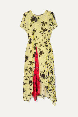 Preen Line Asha Floral-print Georgette Midi Dress - Pastel yellow