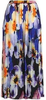 Christopher Kane Pleated Floral-Print Silk Crepe De Chine Culottes
