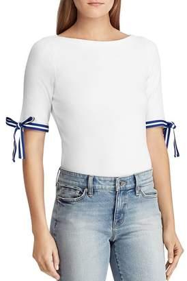 Ralph Lauren Stripe Tie-Cuff Top