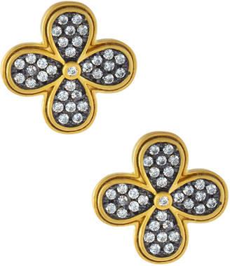 Freida Rothman Oversized Pave Clover Stud Earrings