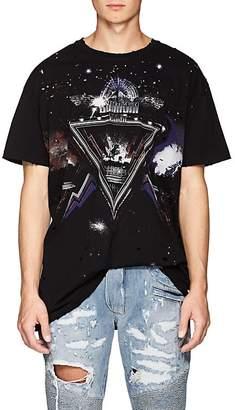 Balmain Men's Galaxy-Print Distressed Cotton T-Shirt