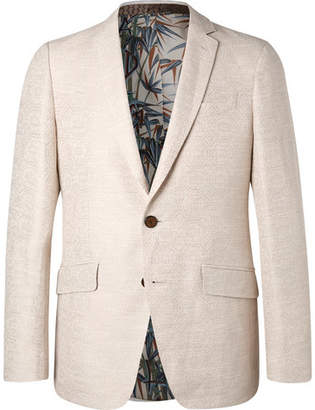 Etro Cream Slim-fit Cotton And Linen-blend Jacquard Blazer - Cream