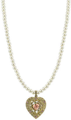 JCPenney 1928 Jewelry Simulated Pearl and Gold-Tone Heart Pendant Necklace