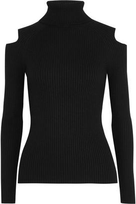 Theory - Jemliss Cutout Ribbed Wool-blend Sweater - Black $295 thestylecure.com