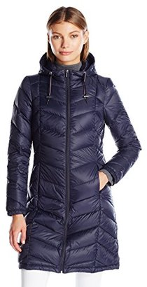 Tommy Hilfiger Women's Long Hooded Packable Down Coat with Contrast Detail $94.79 thestylecure.com