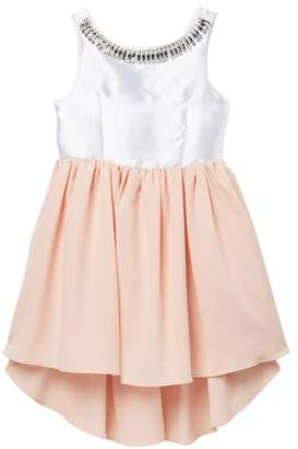 Pippa & Julie White Top With Blush Skirt Jeweled Dress (Big Girls)