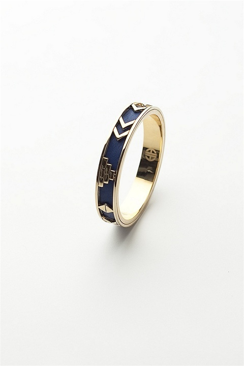 House of Harlow - 14kt Gold Plated Aztec Bangle, Blue Leather