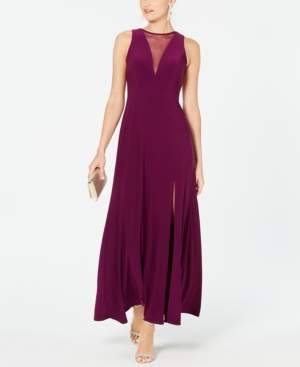 Night Way Nightway Illusion-Inset A-Line Gown