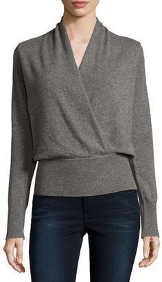 Neiman Marcus Cashmere Collection Cashmere Faux-Wrap Sweater $275 thestylecure.com